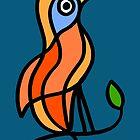 «Pájaro de color en una ramita en tablero azul» de Istvan Ocztos