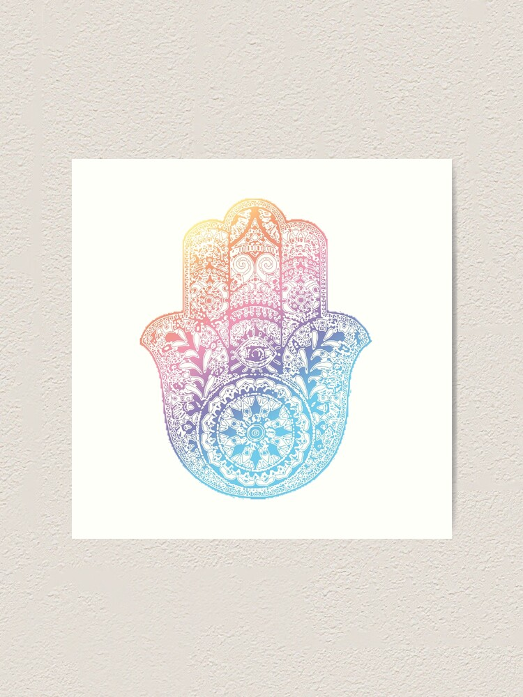 Alternate view of Rainbow Hamsa Art Print