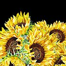 Sunny Flowers Sunflowers Watercolor by Irina Sztukowski