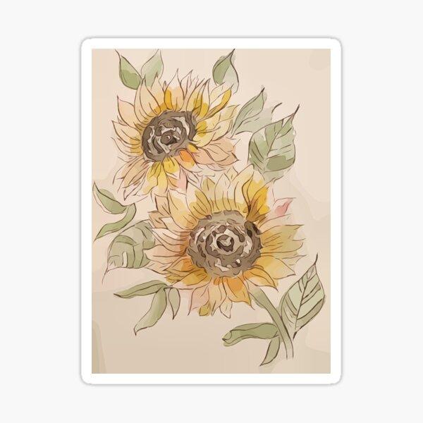 Sunflowers in Watercolor Sticker