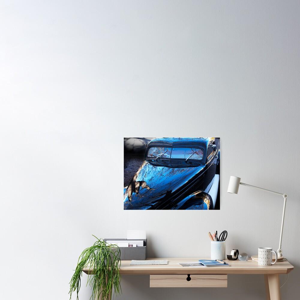 Spooky Custom Van in Winter light Poster