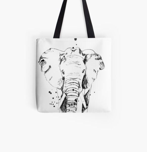 Der schwarze Elefant Allover-Print Tote Bag