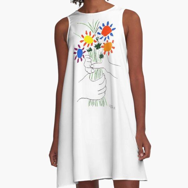 Pablo Picasso Bouquet Of Peace 1958 (Flowers Bouquet With Hands) or Le Bouquet de la Amitié (friendship) A-Line Dress