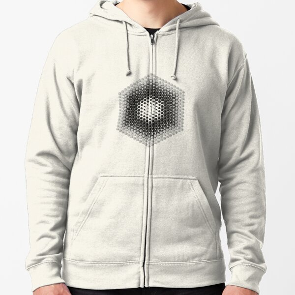 #circle, #sphere, #hexagon, #shape, abstract, illustration, design, pattern, separation, textured, square Zipped Hoodie