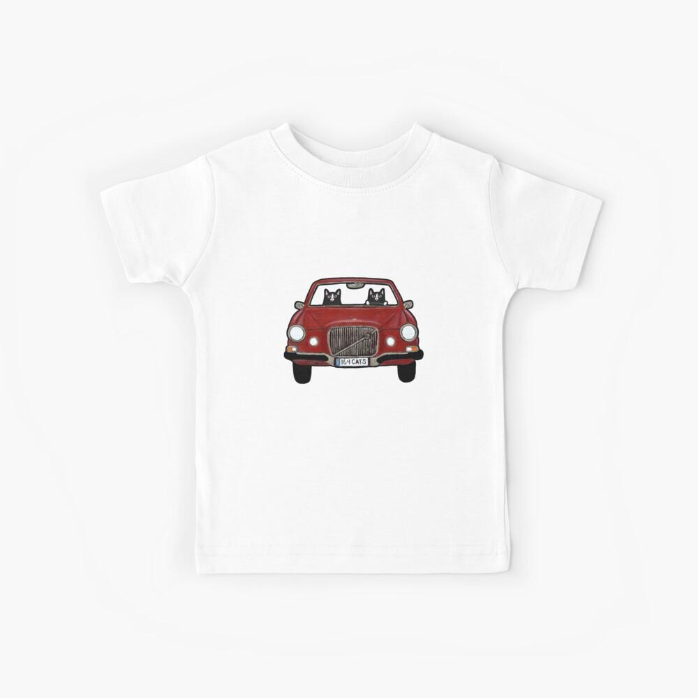 Gatos en un Volvo Maroon Camiseta para niños