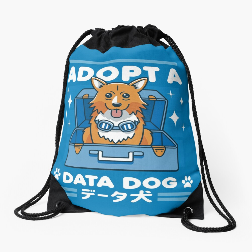 Adopt a Data Dog Drawstring Bag