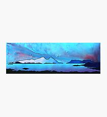 The Isle of Rum and Eigg from Sanna Bay, Scottish western Isles. Photographic Print