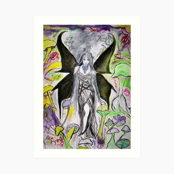 Dark Angel in a Psychedelic Landscape  Art Print
