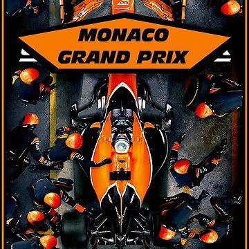 MONACO: Grand Prix-Rennwagen-Rennwagen-Werbedruck von posterbobs