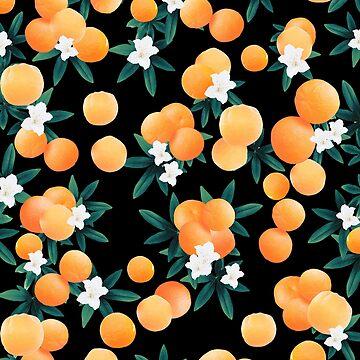Orange Twist Flower Night Vibes #1 #tropical #fruit #decor #art by anitabellajantz