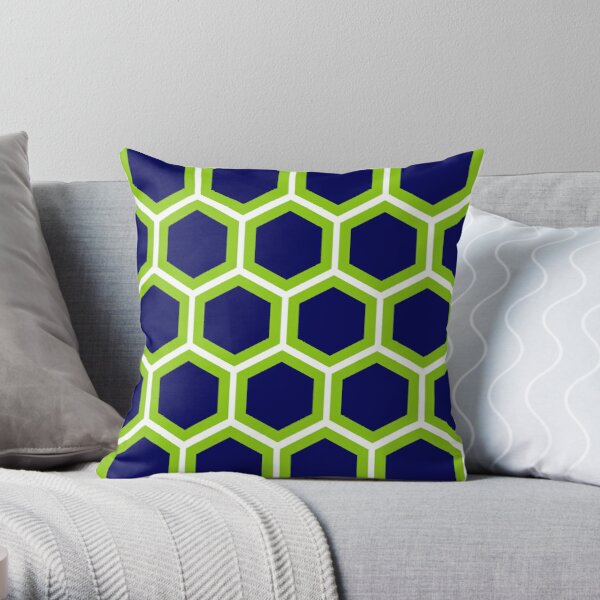 Large Honeycomb in Lime Green, Bright Navy Blue, and White. Minimalist. Geometric. Modern. Bold. Throw Pillow