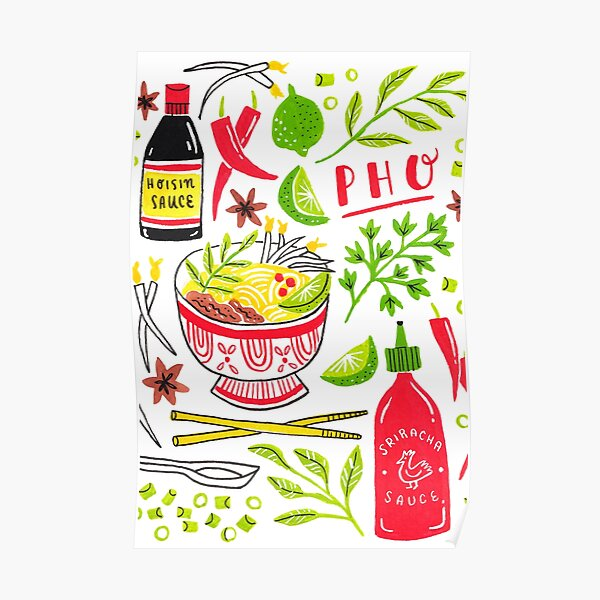 Vietnamese Pho Soup Sriracha Poster