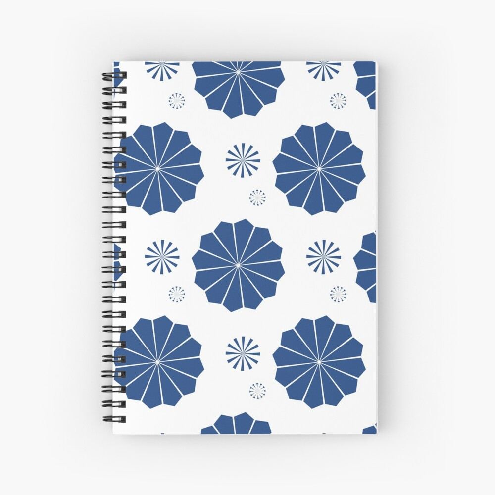 Blue and White Flowers Spiral Notebook