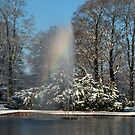 Rainbow fountain in snowy park by steppeland
