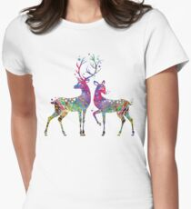Deer Love Illustration Watercolor Womens Fitted T-Shirt