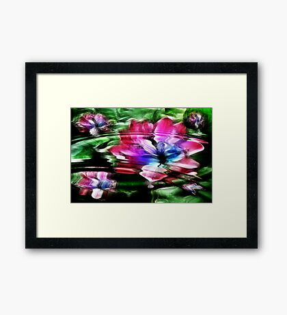 Rippled Water Lily and Bubbles Framed Print
