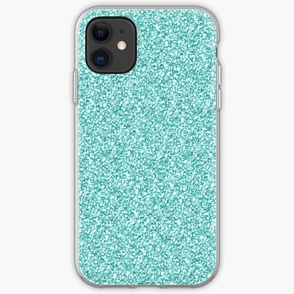 Aqua Glitter Sparkle  iPhone Soft Case