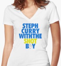 Steph Curry With The Shot Boy [With 3 Sign] Blue/Gold Women's Fitted V-Neck T-Shirt