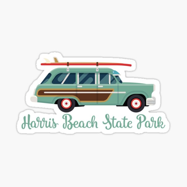 Harris Beach State Park Oregon Retro Surf Wagon Sticker