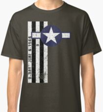D-Day 75th Anniversary U Army Air Corps Aircraft Invasion Stripes & Roundel Vintage Classic T-Shirt