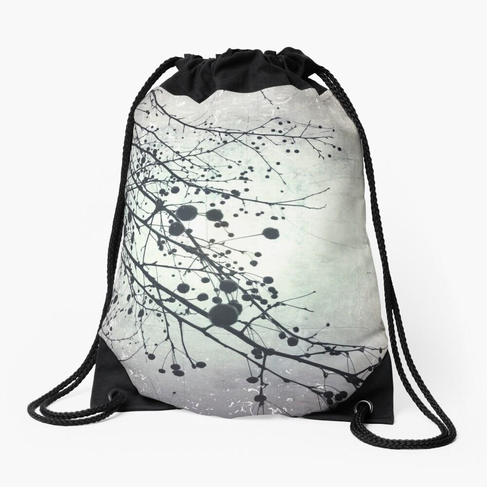 Silver Sky Photo Art  - Bare Tree in Winter - Black and White Nature Art Drawstring Bag