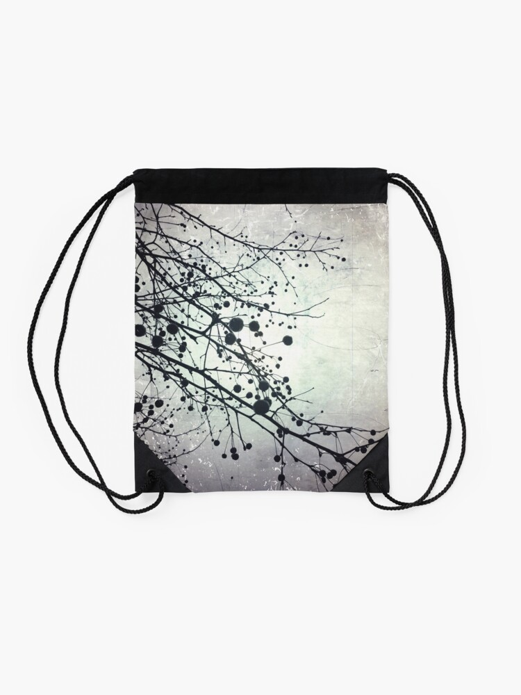 Alternate view of Silver Sky Photo Art  - Bare Tree in Winter - Black and White Nature Art Drawstring Bag
