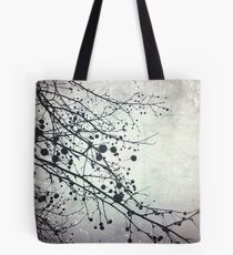 Silver Sky Photo Art  - Bare Tree in Winter Artwork - Neutral Colors - Black and White Nature Art Tote Bag