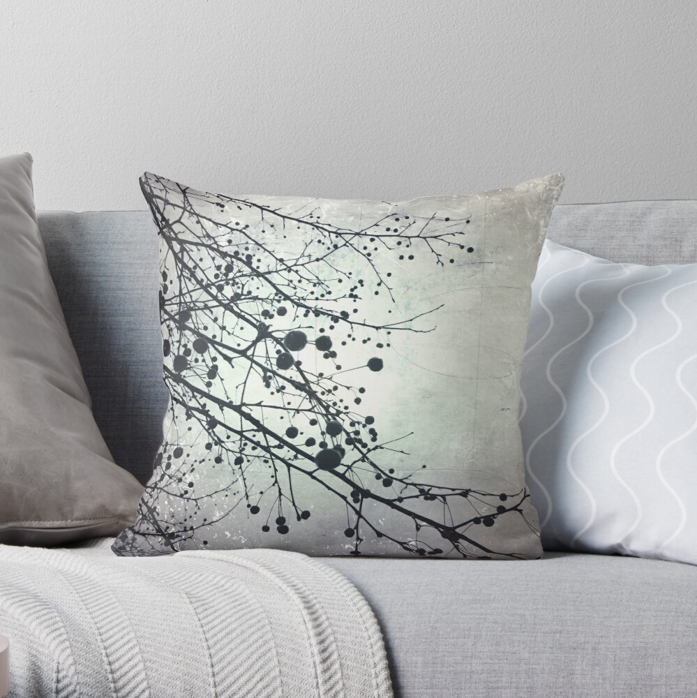 Silver Sky Photo Art  - Bare Tree in Winter - Black and White Nature Art Throw Pillow