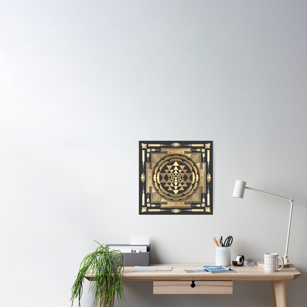 GOLDEN SRI YANTRA (deep charcoal background) Poster