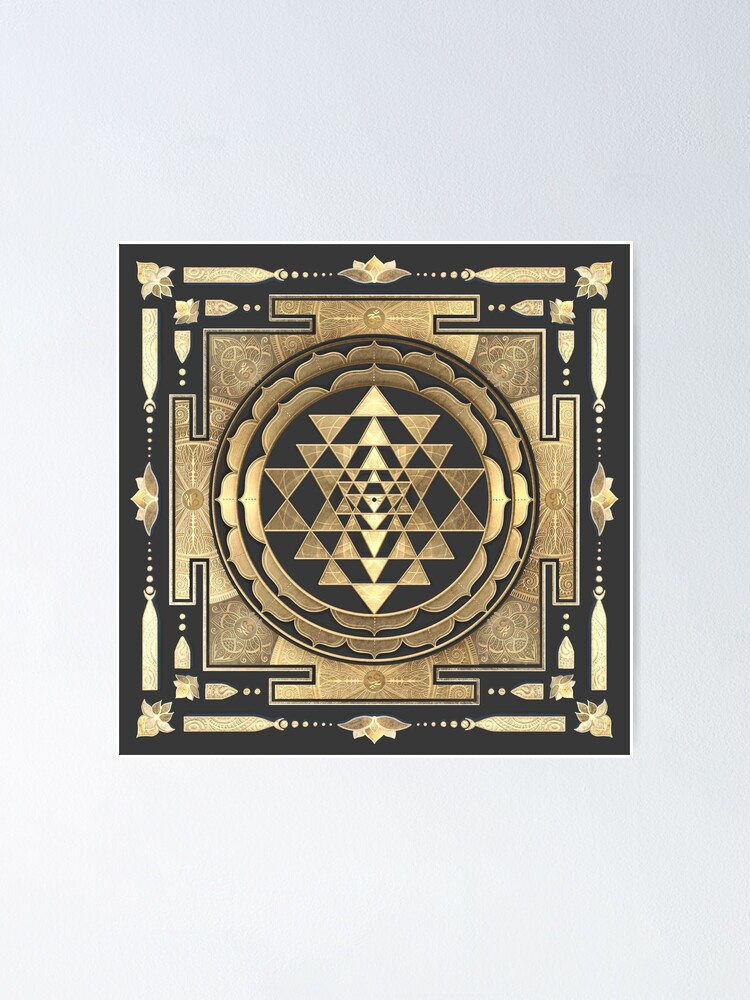 Alternate view of GOLDEN SRI YANTRA (deep charcoal background) Poster