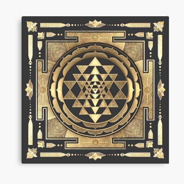 GOLDEN SRI YANTRA (deep charcoal background) Canvas Print