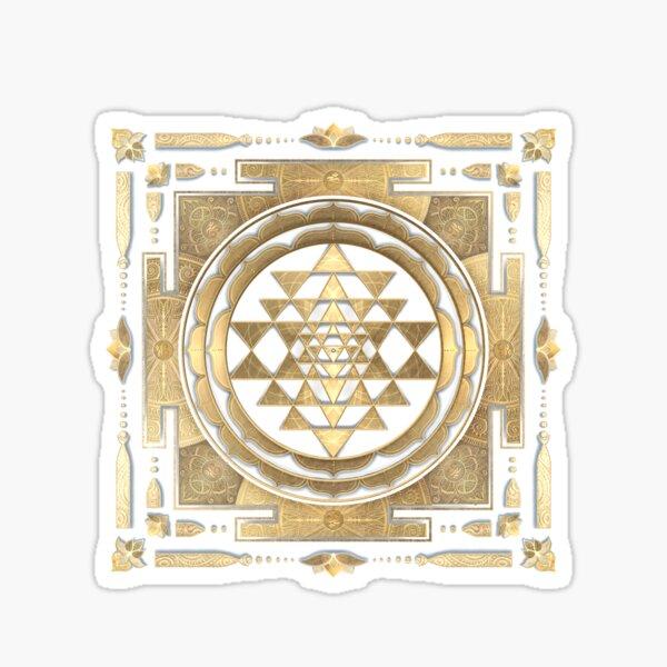 GOLDEN SRI YANTRA (deep charcoal background) Sticker