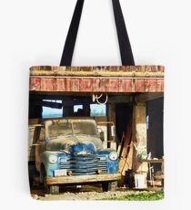 Red Barn Blue Truck Tote Bag