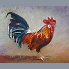 Rooster - Throw Pillow by Lynda Robinson