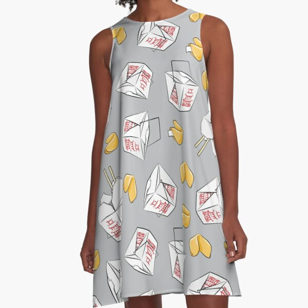 Take Out Boxes - Chinese Food on grey A-Line Dress