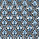 Blauer und grauer eleganter Damast von Alondra