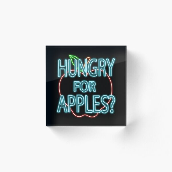 Neon Hungry for Apples Logo Acrylic Block