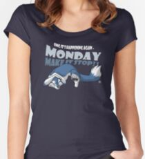Monday - Make it stop! (blue) Women's Fitted Scoop T-Shirt