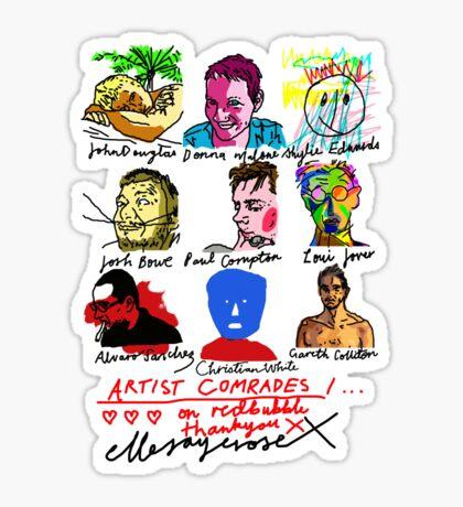Artist Comrades I... Love Love Love on Red Bubble Sticker