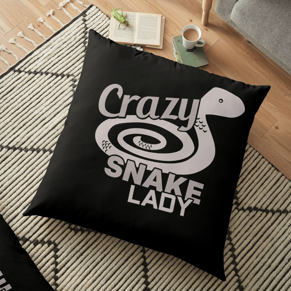 Crazy Snake Lady Floor Pillow