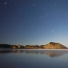 Wharariki beach on a full moon by Paul Mercer