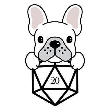 Dados Frenchie D20 para dueños de Bulldog Francés de pixeptional