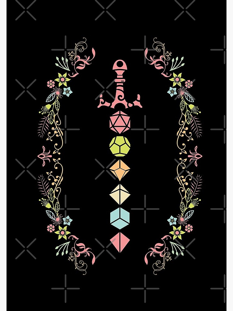Floral Polyhedral Dice Set Sword by pixeptional