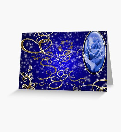 Enchanted Blue Rose Gem Series # 1 Greeting Card