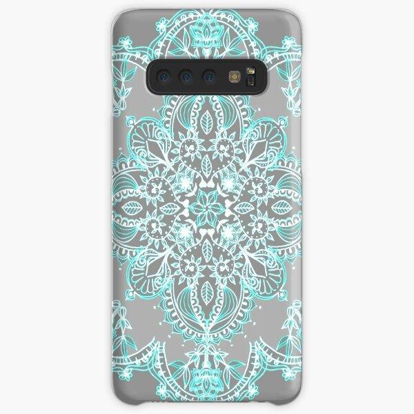 Teal and Aqua Lace Mandala on Grey Samsung Galaxy Snap Case