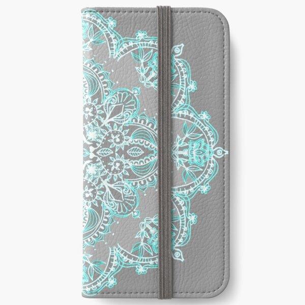 Teal and Aqua Lace Mandala on Grey iPhone Wallet