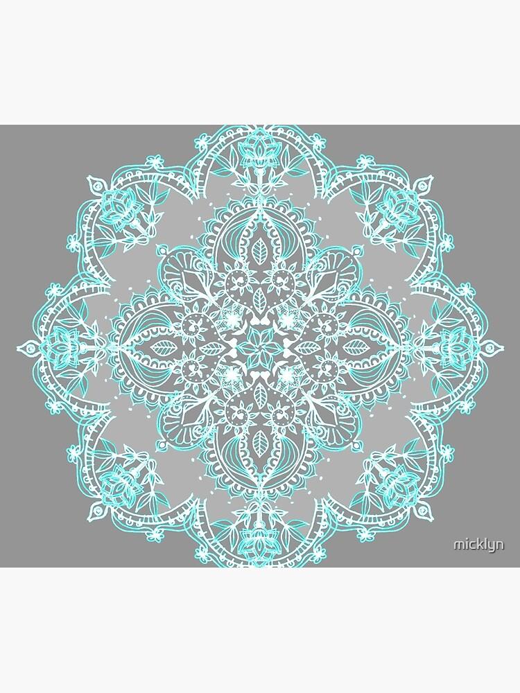 Teal and Aqua Lace Mandala on Grey by micklyn