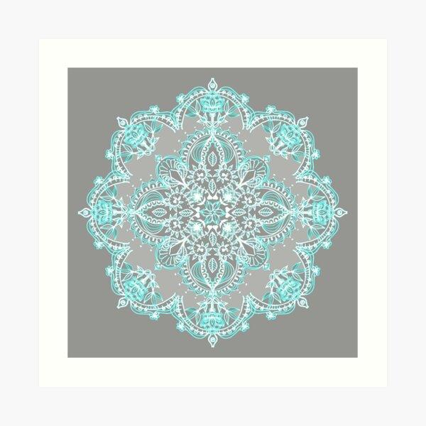 Teal and Aqua Lace Mandala on Grey Art Print