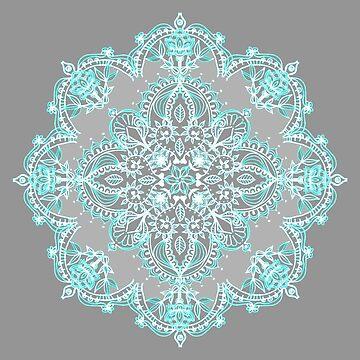 Aquamarin und Aqua Lace Mandala auf Grau von micklyn