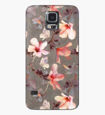 Korallen Hibiskus Hülle & Klebefolie für Samsung Galaxy